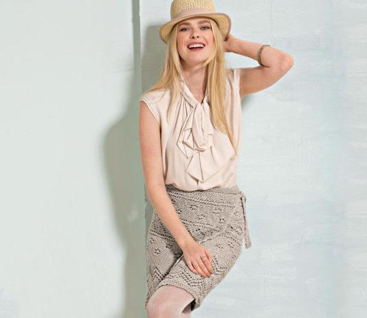 Вязаная юбка спицами с ажурным узором с запахом схема вязания спицами с подробным описанием бесплатно