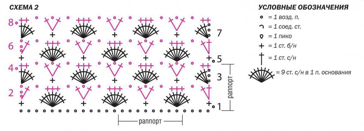 Топ крючком с цветочным орнаментом на горловине схема вязания с подробным описанием