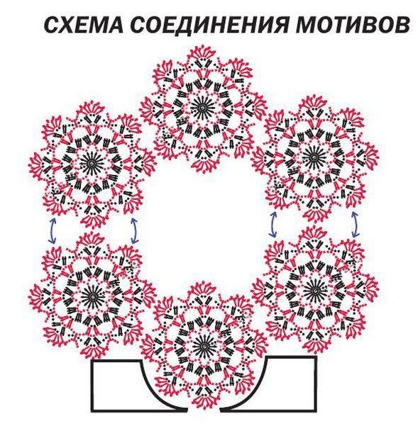 Топ крючком с цветочным орнаментом на горловине схема соединения цветочного мотива
