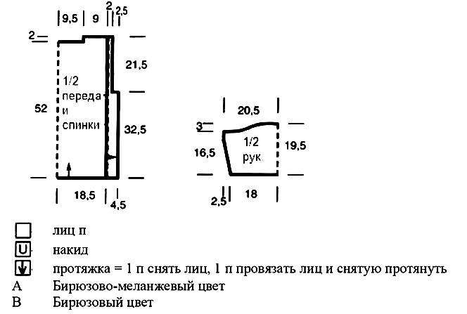 Меланжевый джемпер спицами в технике поворотного вязания выкройка и условные обозначения