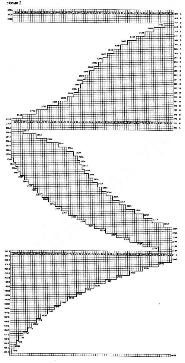Меланжевый джемпер спицами в технике поворотного вязания схема вязания
