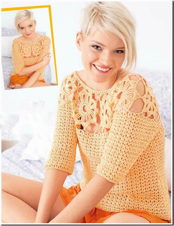 Весенний пуловер крючком персикового цвета схема вязания с подробным описанием
