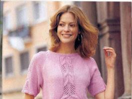 Летний пуловер спицами с коротким рукавом схема вязания с подробным описанием