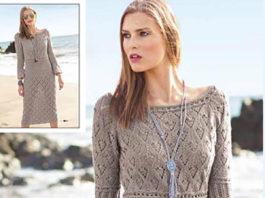 Ажурное платье спицами с рукавами клеш схема вязания с подробным описанием для женщин бесплатно