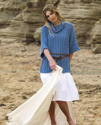 Голубой пуловер спицами с широким рукавом 3/4 схема вязания с подробным описанием