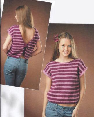 Полосатый топ спицами с открытой спинкой схема вязания с подробным описанием для женщин