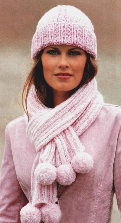 Комплект из шапки и шарфа с помпоном схема вязание спицами для начинающих