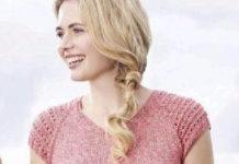 Розовый летний топ спицами с ажурными рукавами схема вязания с подробным описанием для женщин