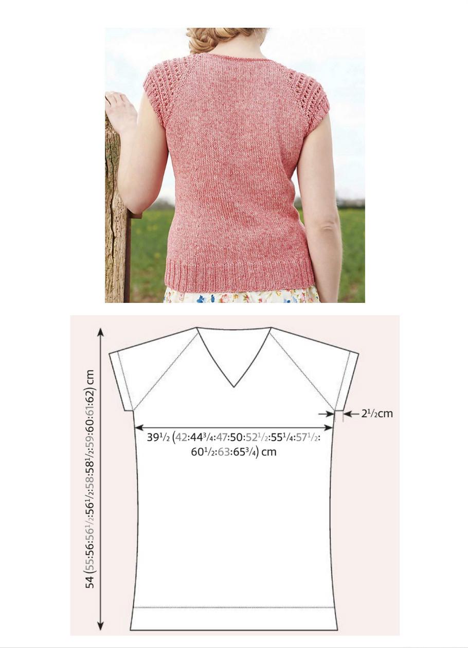 Розовый летний топ спицами с ажурными рукавами схема вязания с подробным описанием для женщин выкройка