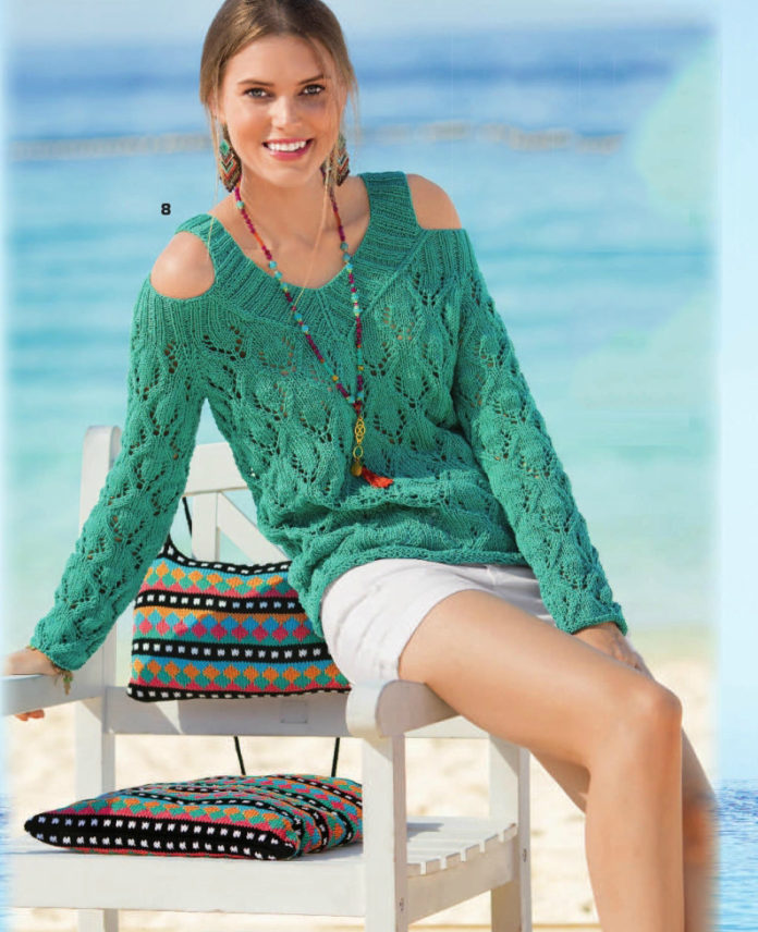 Летний пуловер спицами с открытыми плечами схема вязания с подробным описанием для женщин