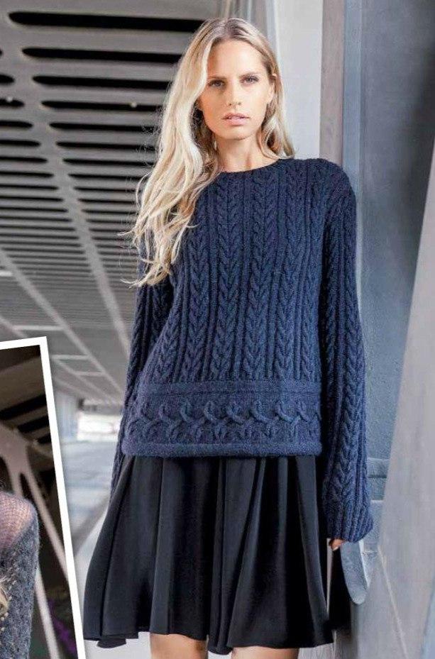 Пуловер спицами с узором из кос и ромбов с широким рукавом схема вязания с подробным описанием для женщин спицами
