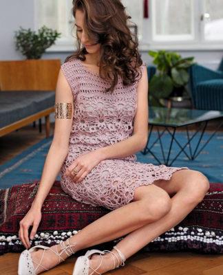 Кружевное платье из мотивов крючком схема вязания с подробным описанием