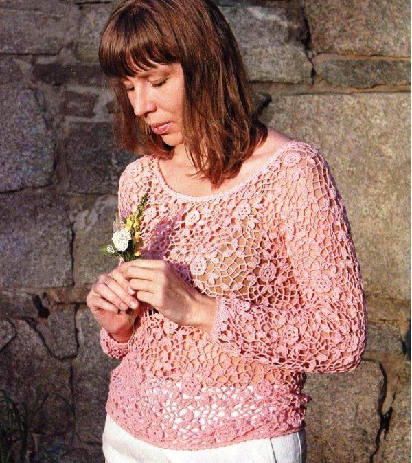 Воздушный пуловер крючком из ажурных мотивов схема вязания с подробным описанием для женщин крючком