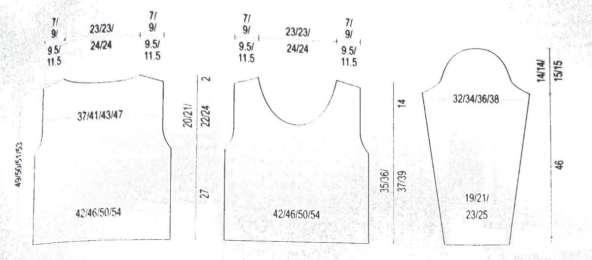 Пуловер спицами с дырявым узором выкройка