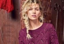 Малиновый пуловер спицами с ажурным узором схема вязания с подробным описанием для женщин спицами
