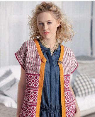 Схема вязания жилета спицами в жаккардовом стиле схема вязания спицами с подробным описанием для женщин спицами