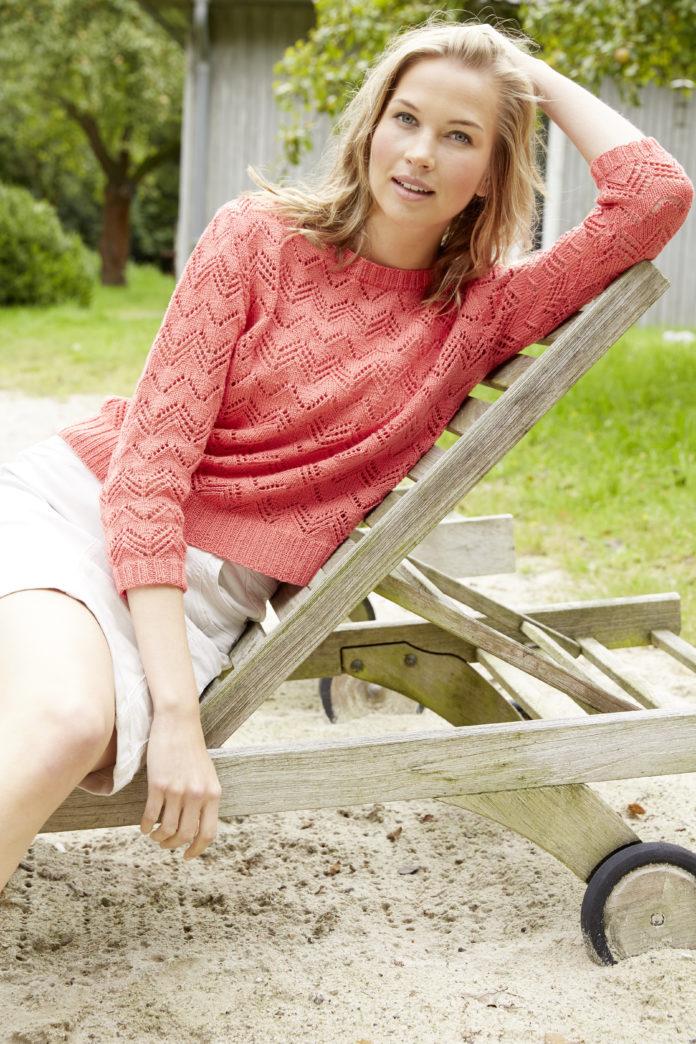 Ажурный пуловер спицами с глубоким вырезом на спинке схема вязания с подробным описанием для женщин спицами бесплатно
