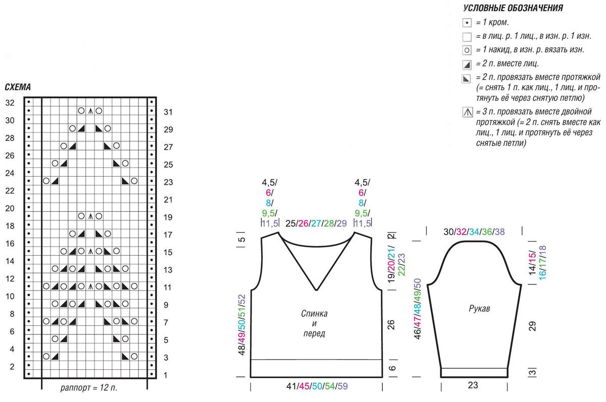 Ажурный пуловер спицами с глубоким вырезом на спинке схема вязания спицами выкройка условные обозначения