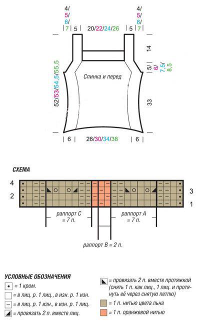 Топ на бретелях спицами из пряжи двух цветов схема вязания выкройка и условные обозначения
