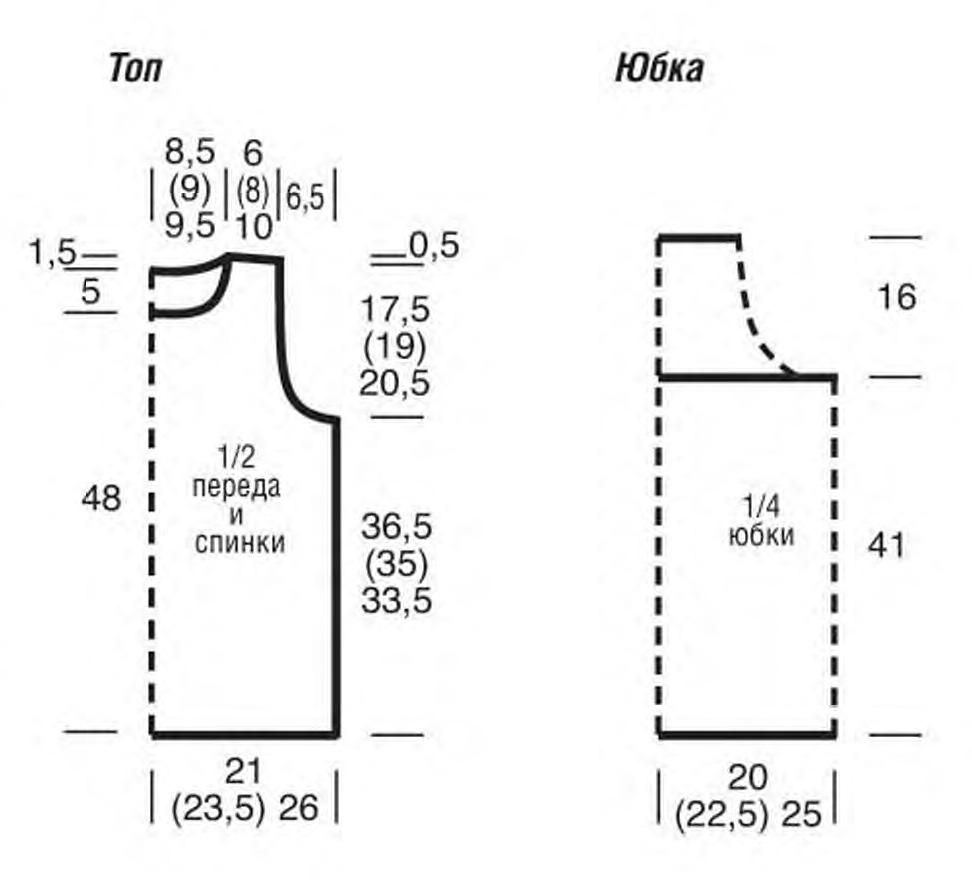 Летний костюм в нежных тонах: юбка и топ спицами выкройка схема вязания спицами