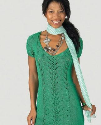 Платье туника спицами с ажурным узором вдоль полочки схема вязания условные обозначения и выкройка