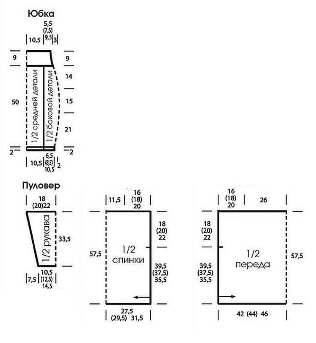 Кофта спицами в стиле оверсай и юбка карандаш с ребристым узором  выкройка