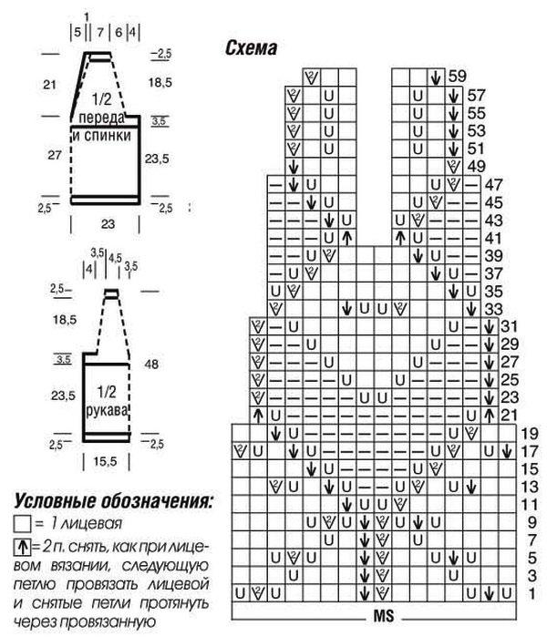 Ажурный пуловер спицами с ажурной кокеткой и застежкой на спинке выкройка схема вязания с подробным описанием