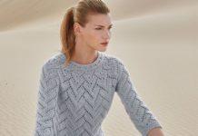 Ажурный пуловер спицами на круглой кокетке схема вязания с подробным описанием