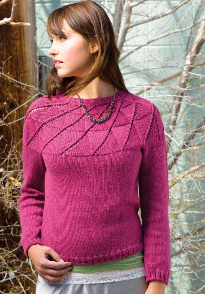 Малиновый пуловер спицами на круглой кокетке схема вязания спицами с подробным описанием