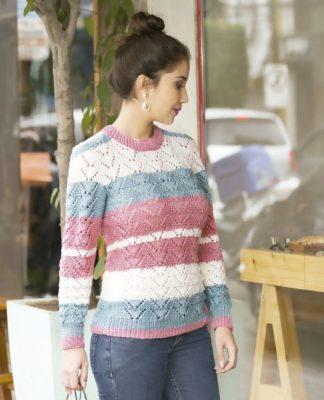 Ажурный пуловер в полоску спицами схема вязания с подробным описанием