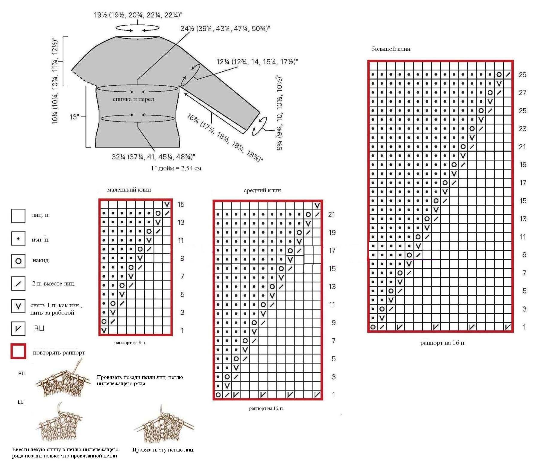 Малиновый пуловер спицами на круглой кокетке схема вязания спицами выкройка условные обозначения