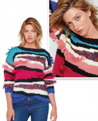 Цветной пуловер спицами с зигзагообразными линиями и бахромой схема вязания с подробным описанием для женщин спицами