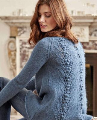 Воздушный пуловер с ажурной спинкой схема вязания с подробным описанием для женщин спицами