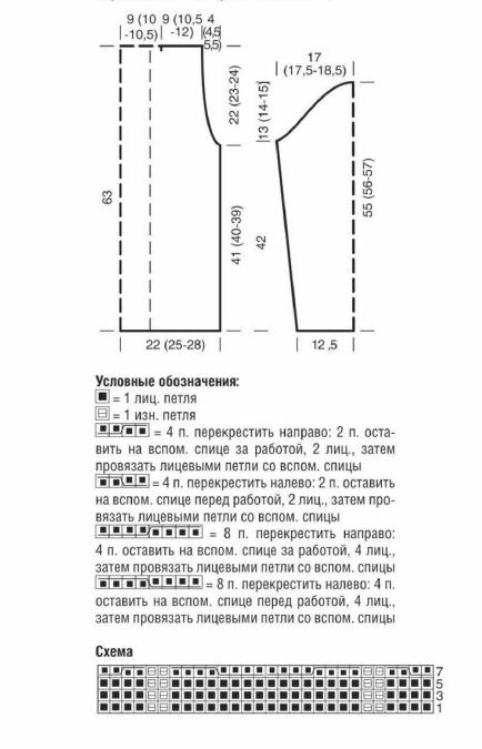 Бордовый свитер спицами с косой схема вязания условные обозначения выкройка