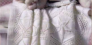 Вязаный плед для дома из шестиугольников спицами схема вязания спицами