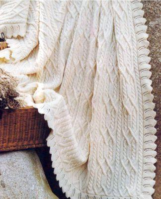 Белый плед спицами с ажурной каймой схема вязания с подробным описанием