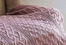 Нежный плед спицами в постельных тонах схема вязания с подробным описанием