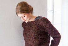 Укороченный пуловер спицами с вырезом лодочка схема вязания спицами с подробным описанием для женщин