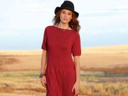 Красное платье спицами с узором из ромбов схема вязания спицами с подробным описанием
