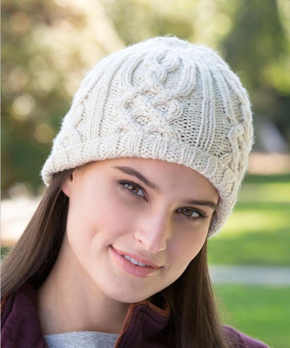 Модная шапка бини с аранами спицами схема вязания с описанием