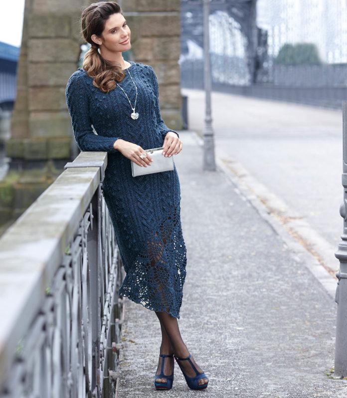 Элегантное платье спицами с ажурной вставкой схема вязания с подробным описанием для женщин