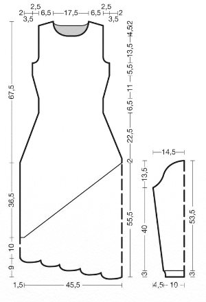 Элегантное платье спицами с ажурной вставкой выкройка