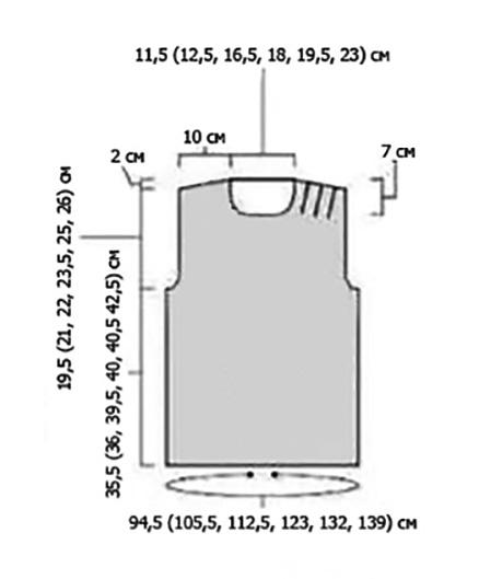 Летний топ спицами со складками на плече выкройка