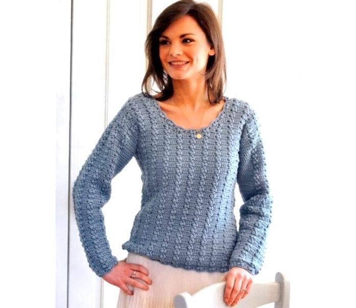 Женский свитер, выполненный крючком схема вязания с подробным описанием