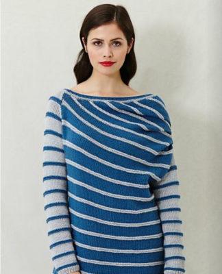 Стильный пуловер оверсайз в полоску схема вязания с подробным описанием для женщин спицами