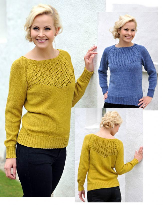 Элегантный пуловер спицами реглан снизу