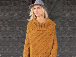 Платье-пуловер спицами с широким воротником схема вязания с подробным описанием для женщин спицами