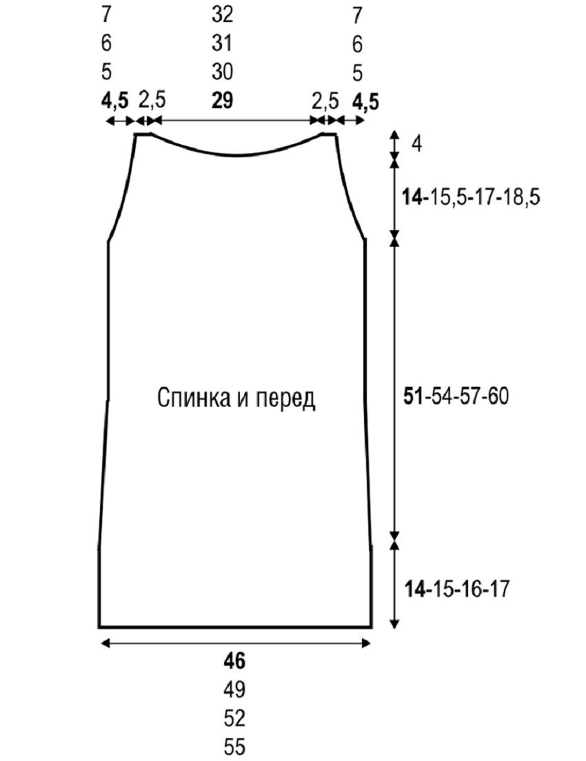 Летнее мини-платье с американской проймой, связанное спицами выкройка платья