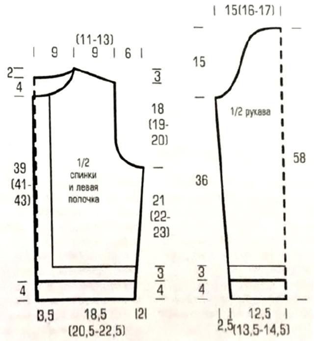 Малиновый жакет - схема вязания спицами выкройка