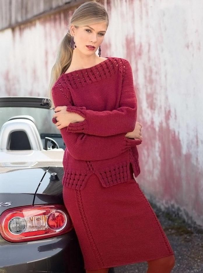 Алая юбка и джемпер спицами - вязаный комплект схема вязания бесплатно